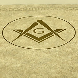 Square and Compasses floor image at a masonic centre in Essex